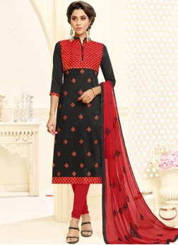 Princely Cotton Embroidered Churidar Suit
