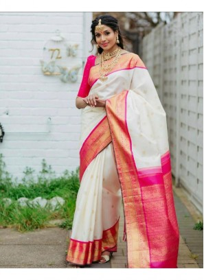 Princely Lichi Silk, Jacquard Work, Traditional Wear On Saree In Pink - White