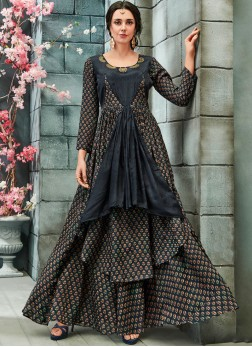 Print Faux Georgette Readymade Gown  in Grey