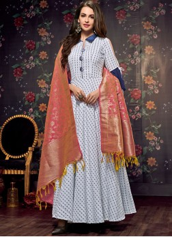 Print Handloom Cotton Party Wear Kurti in White