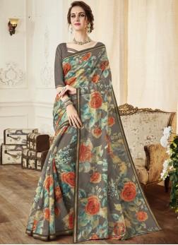 Print Linen Trendy Saree in Multi Colour