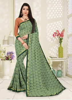 Printed Saree Abstract Print Faux Georgette in Green
