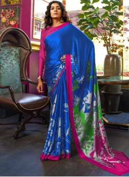 Printed Saree Abstract Print Satin in Multi Colour