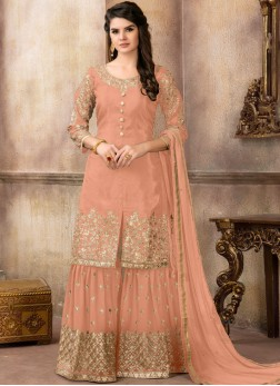 Pristine Peach Resham Designer Pakistani Suit