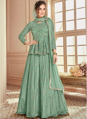 Prodigious Sea Green Lace Net Long Choli Lehenga