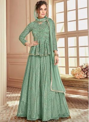 Prodigious Sea Green Lace Net Long Choli Lehenga