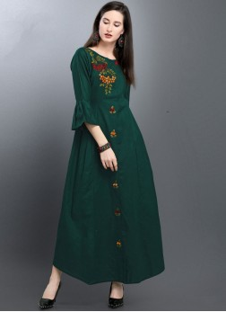 Prominent Green Festival Party Wear Kurti