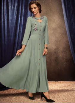 Prominent Grey Party Party Wear Kurti