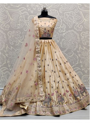 Provocative Peach Flaired Sober Work Wedding Girlish Lehenga Choli