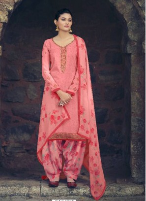Punjabi Embroidery Salwar Suit In Pink