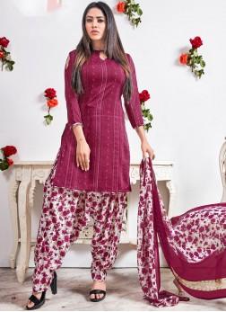 Punjabi Suit Abstract Print Faux Crepe in Magenta