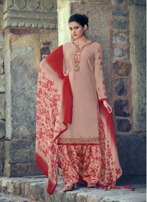 Punjabi Zari Embroidery Salwar Suit In White