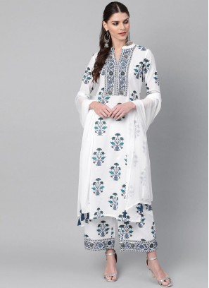 Pure Cotton Flower Print Salwar Suit In White