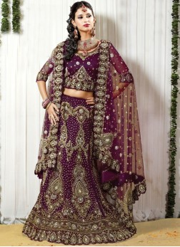 Purple Bridal Net zardosi work Lehenga Choli