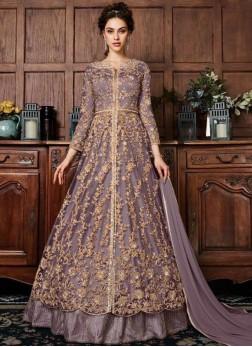 Purple Fancy Fabric Long Choli Lehenga