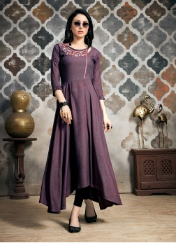 Purple Fancy Party Party Wear Kurti