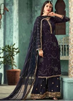 Purple Foil print Georgette Designer Palazzo Suit