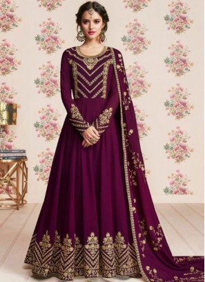 Purple Georgette Embroidered Anarkali Salwar Suit