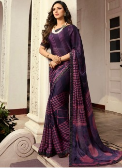Purple Georgette Trendy Saree