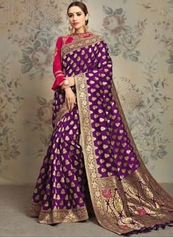 Purple Jacquard Silk Wedding Classic Saree