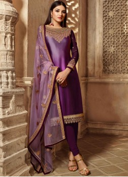 Purple Mehndi Georgette Satin Churidar Salwar Suit