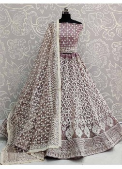 Purple Net Embroidered Work Designer Lehenga Choli