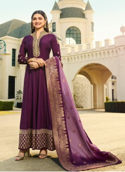 Purple Sangeet Art Silk Anarkali Suit