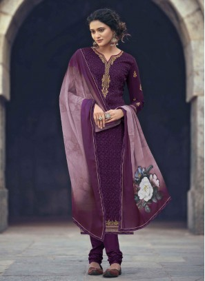 Purple Straight Salwar Kameez with Churidar style