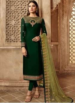 Radiant Georgette Satin Green Resham Churidar Designer Suit