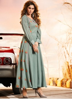 Radiant Muslin Embroidered Party Wear Kurti