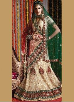 Radiant Net Cream Resham Handwork Lehenga Choli