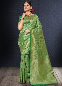 Radiant Weaving Green Art Silk Traditional Designer Saree