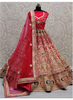Rajasthani Look Beautifully Designed Bridal Lehenga Choli In Pink