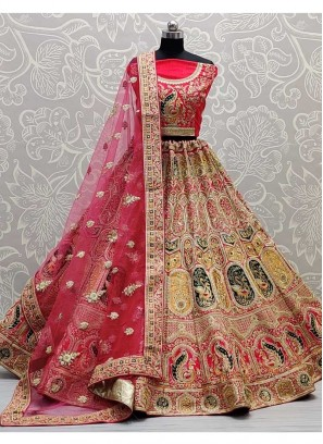 Rapturous Bridal Wear Designer Detailed Work On Silk Lehenga Choli In Pink