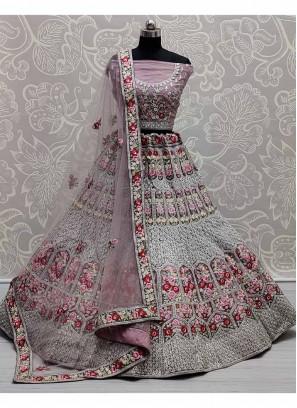 Ravishing Flower Patterned & Multi Embroidered Flaired Lehenga Choli In Light Purple
