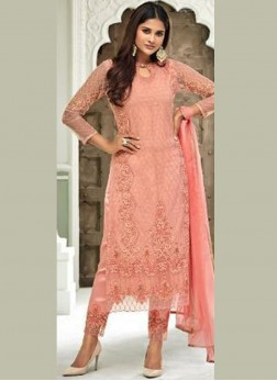 Ravishing Handwork Net Peach Pant Style Suit