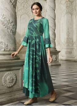 Rayon Green Designer Kurti