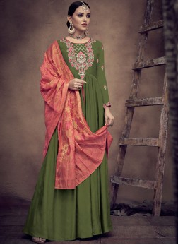 Rayon Green Readymade Anarkali Suit