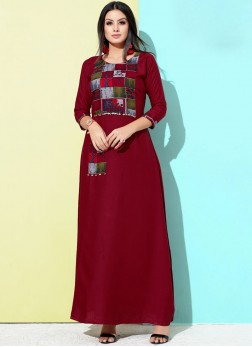 Rayon Maroon Party Wear Kurti