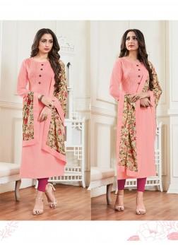 Rayon Pink Plain Designer Kurti