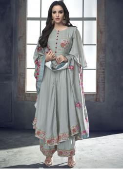 Rayon Silver Resham Readymade Suit