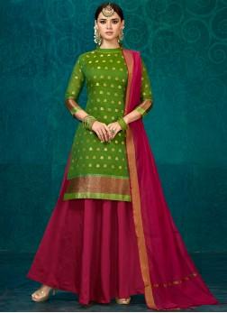 Readymade Lehenga Choli Fancy Jacquard Silk in Green
