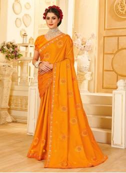Recaption Wear Designer Silk Saree In Mustard