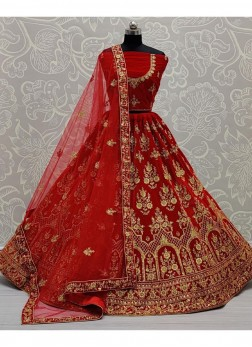 Recaption Wear Embroidery Lehenga Choli In Red