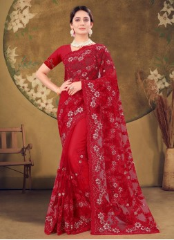 Reception Wear Coding Embroidery Work Net Saree In