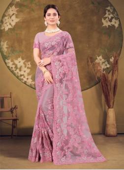 Reception Wear Designer Embroidery Work Saree In P