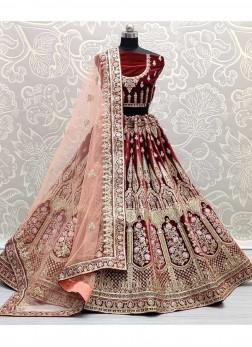 Reception Wear Dori & Thread Work On Velvet Lehenga Choli In Maroon