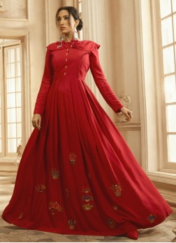 Reception wear Famous Embroidery Work On Reyon Gown In Red