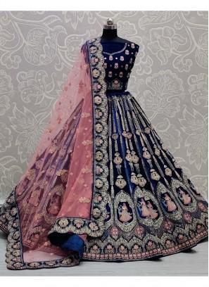 Reception Wear Heavy Thread Work Velvet Lehenga Choli In Blue
