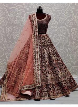 Reception Wear Multi Thread Work Velvet Lehenga Choli In Maroon